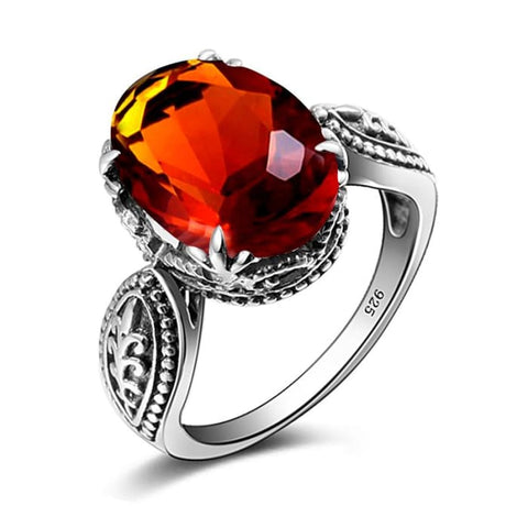 Vintage Bohemia Baroque Collection Brown Amber Gemstone Ring For Women - Ring
