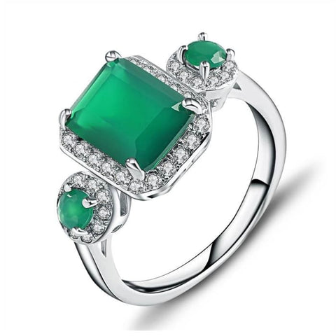 Vintage Emerald Cut Natural Green Agate 2.28 Carat Gemstone Ring - Ring