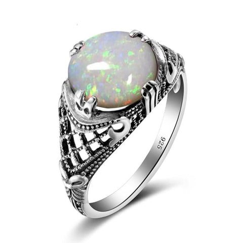 Vintage Handmade White Fire Opal Gemstone Ring For Women - Ring