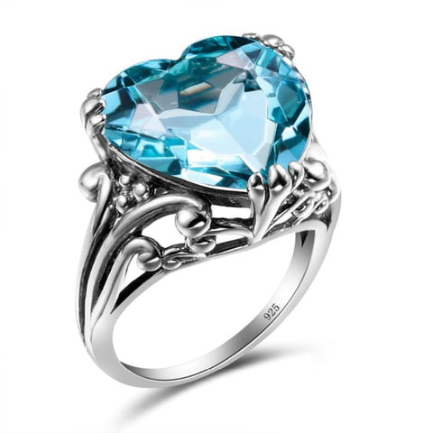 Vintage Heart Shape Style Blue Aquamarine Crystal Ring For Women - Ring