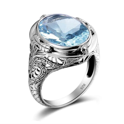 Vintage Luxury Blue Aquamarine Gemstone Ring For Women - Ring