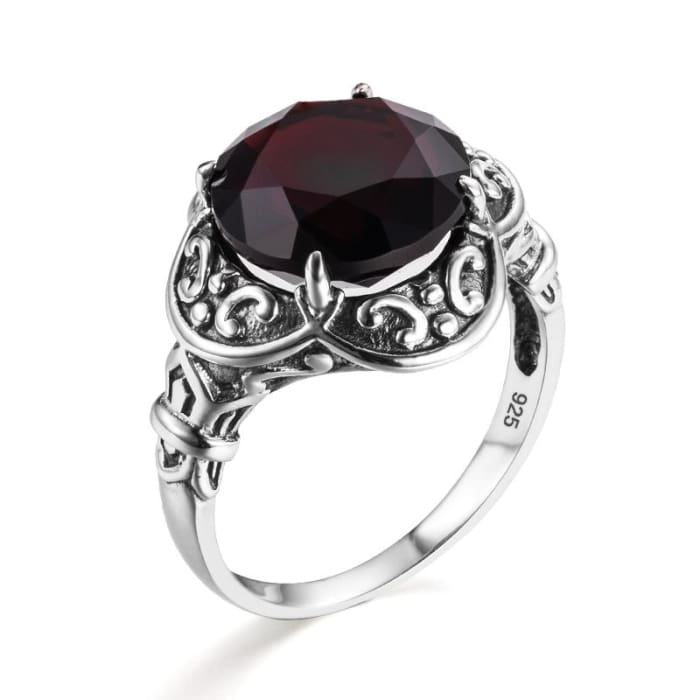 Vintage Round Red Garnet Gemstone Ring For Women - Ring