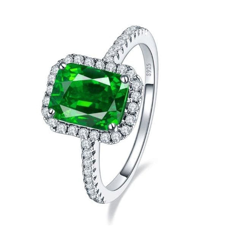 Vintage Style 3.6 Carat Green Emerald Ring For Women - 10 / 925 Silver Ring - Ring
