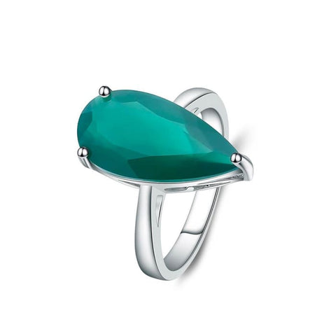 Water Drop Ring From 7.89 Carat Natural Green Agate Gemstone - Ring