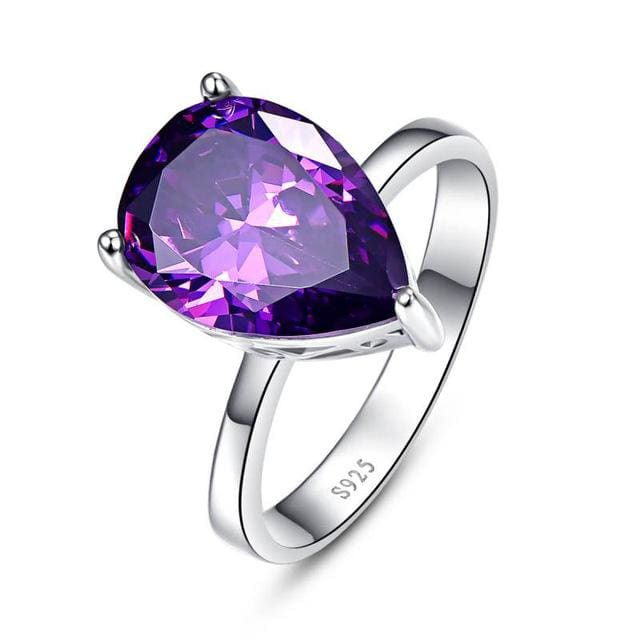 Waterdrop Amethyst Pearl Cut Ring 8.8 Carats For Women - 6 / 925 Silver Ring - Ring