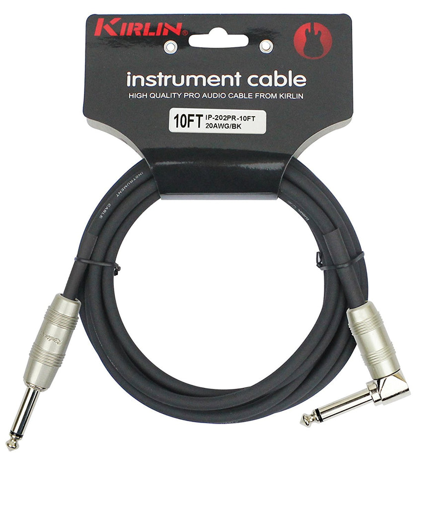 Kirlin IP-202PR/BK Right Angle 10' Instrument Cable
