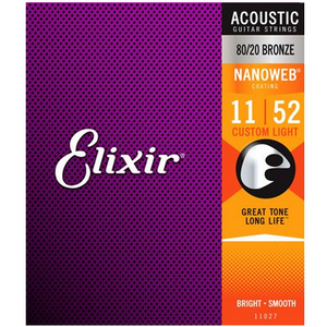 Elixir 11027 Nanoweb Custom Light Acoustic Guitar Strings