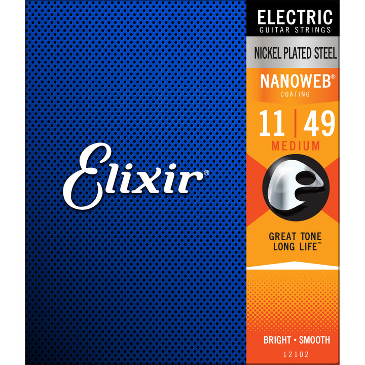 Elixir 12102 Electric Guitar Strings Medium NanoWeb
