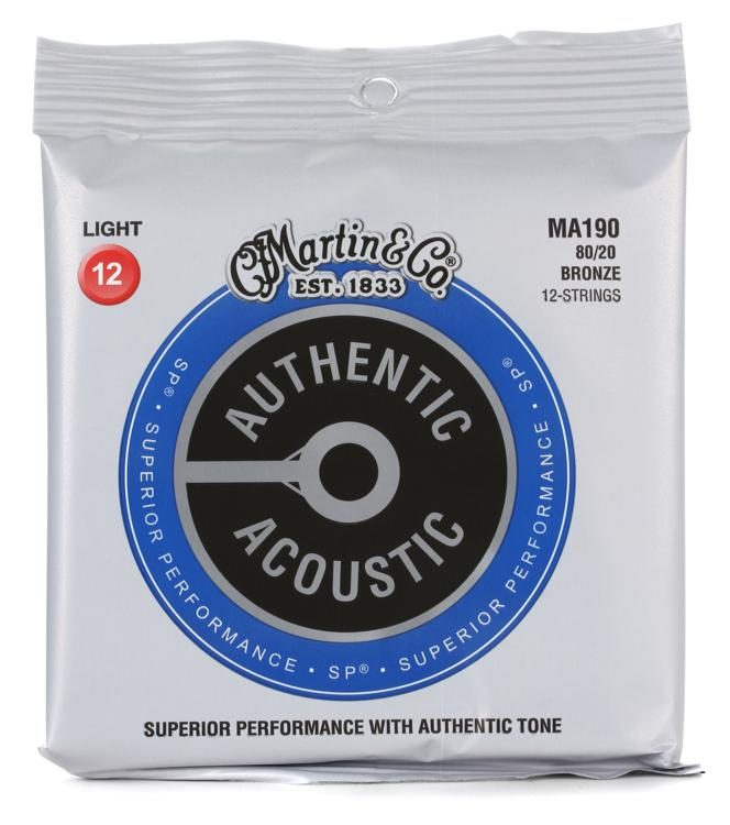 Martin MA190 80/20 12 String Authentic Acoustic Guitar Strings