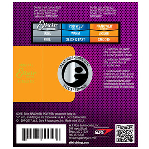 Elixir 11052 Nanoweb Light Acoustic Guitar Strings 12