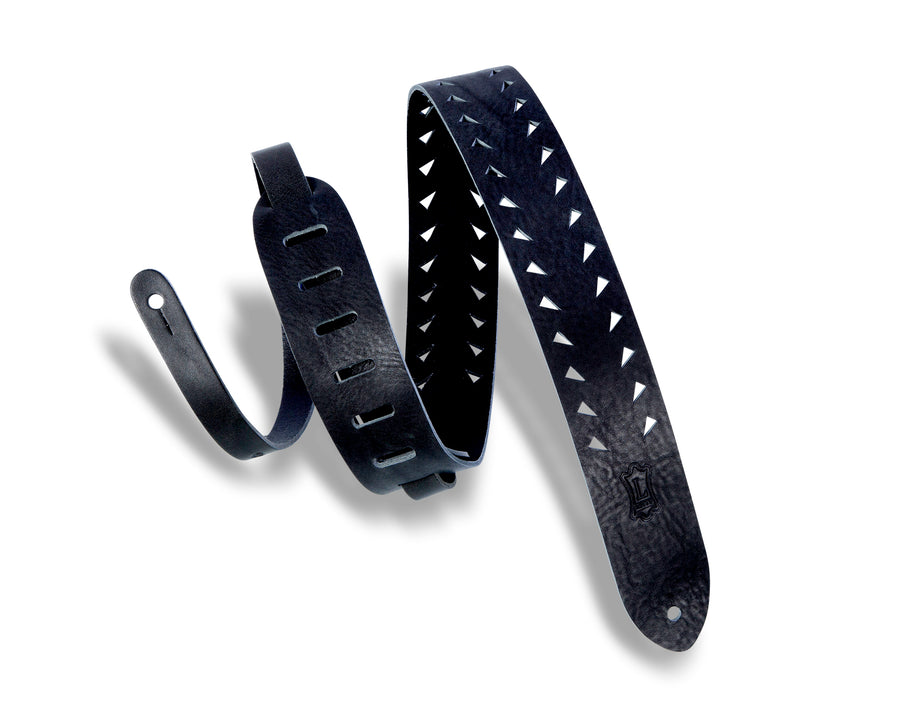 Levy's M12TTV-BLK Tooth Punch-Out Leather Guitar Strap