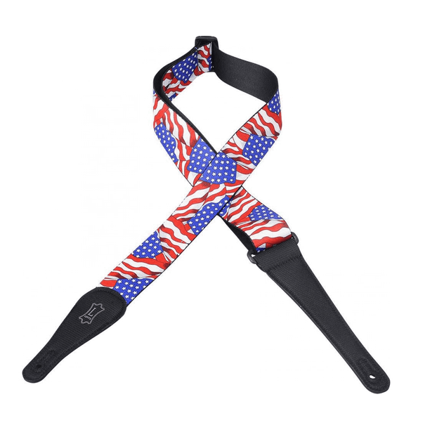 Levy's MP-09 Guitar Strap Black with American Flag
