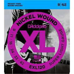 D'Addario XL Electric Guitar Strings EXL120 Super Light Gauge