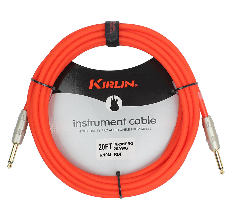 Kirlin IM-201PRH/RDF Orange 20' Instrument Cable