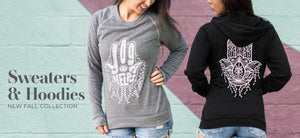 Cute sweatshirt and zip-up hoodies with hamsa hand designs and yoga hand lettering