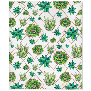 Fleece throw blanket with succulent pattern with green and rose gold colors.