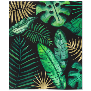 Fleece blanket with tropical leaves illustration on black with reverse white side