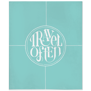 Travel Often lettering in white on teal printed fleece throw blanket