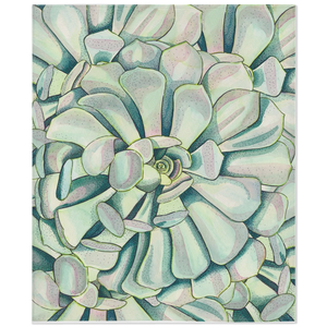 Fleece throw blanket with watercolor succulent pattern with green, teal and pink colors