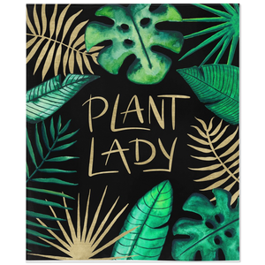 Tropical plant lady design with gold lettering on black on soft fleece blanket
