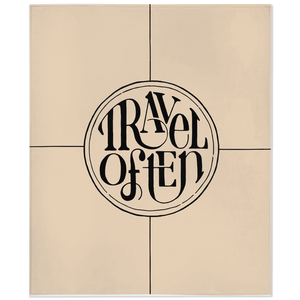Fleece throw blanket with Travel Often hand lettering in black and tan