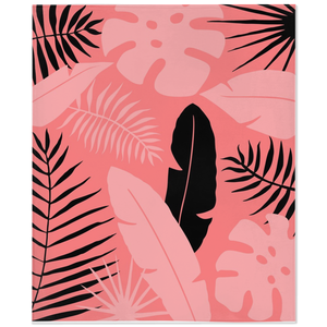 Cozy fleece blanket with tropical leaves graphic in black and living coral pantone color of the year