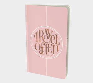Travel Often notebook with hand lettering design in blush and rose gold