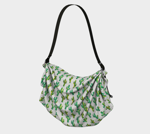 Origami tote bag with cactus pattern in green, yellow and turquoise