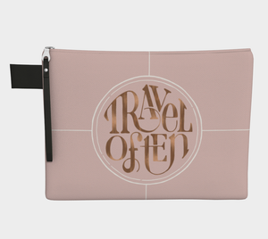Carry-all pouch with Travel Often design in pink and rose gold and vegan leather zipper pull