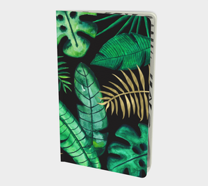 Palm, fern, banana, and monstera leaves notebook in green, gold and black