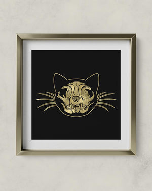 Black and gold cat skull art print