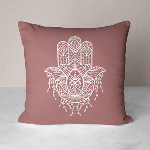 Hamsa Hand Muave Throw Pillows