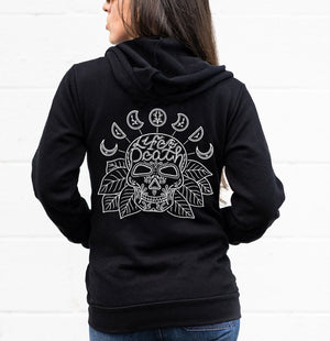 "Zip-Up Hoodie with sugar skull design and moon phase artwork with ""Life & Death"" hand lettering"