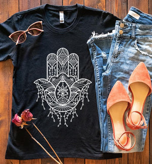 Hamsa Hand with evil eye design printed on fitted women's t-shirt
