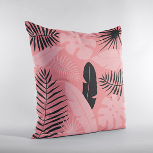 Tropical leaves in living coral color and black in 3 sizes.