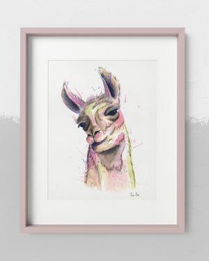 Watercolor illustration of llama with colorful splashes of paint.