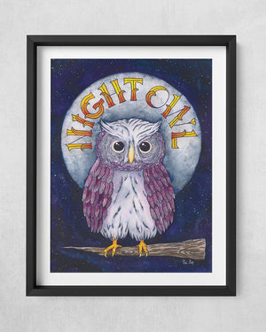 Watercolor illustration of owl and Night Owl hand lettering.