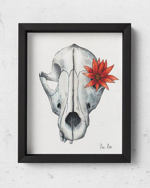 Skull with red flower watercolor illustration with ink pen details.