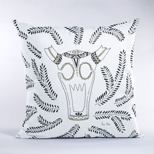 Sugar skull design in black and gold on square throw pillow as 14x14, 18x18 and 26x26