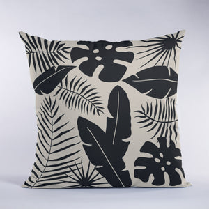 Tropical leaves in black and tan with silhouette leaves
