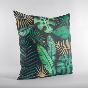 Square pillow with tropical leaves in green, gold and black. Monstera leaves, palms and banana.