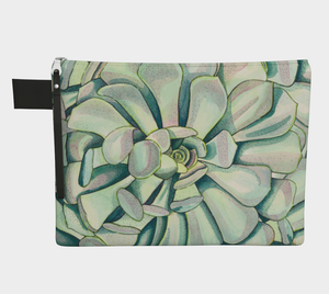zipper carry all pouch travel accessories with succulent illustration