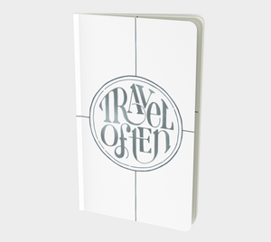 Travel Often notebook with hand lettering design in white and silver