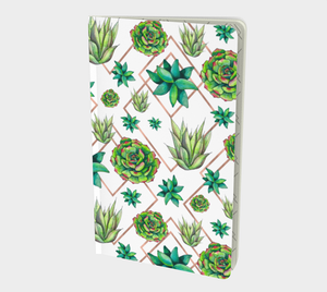 Succulent pattern notebook with bright greens and rose gold triangles
