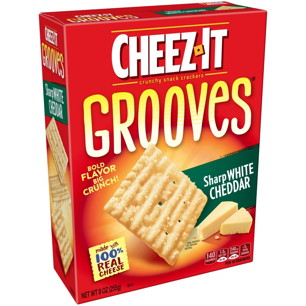 Cheez-It Grooves Sharp White Cheddar Crunchy Snack Crackers
