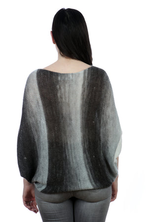 BLACK AND GREY BAT-WING SWEATER
