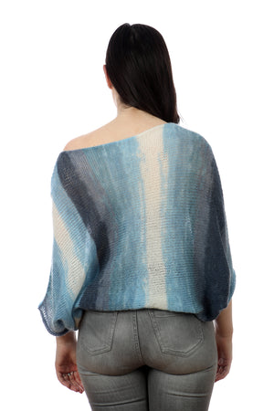 BLUE BAT-WING SWEATER