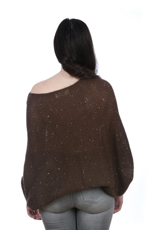 BROWN BAT-WING SWEATER