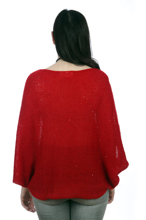RED BAT-WING SWEATER