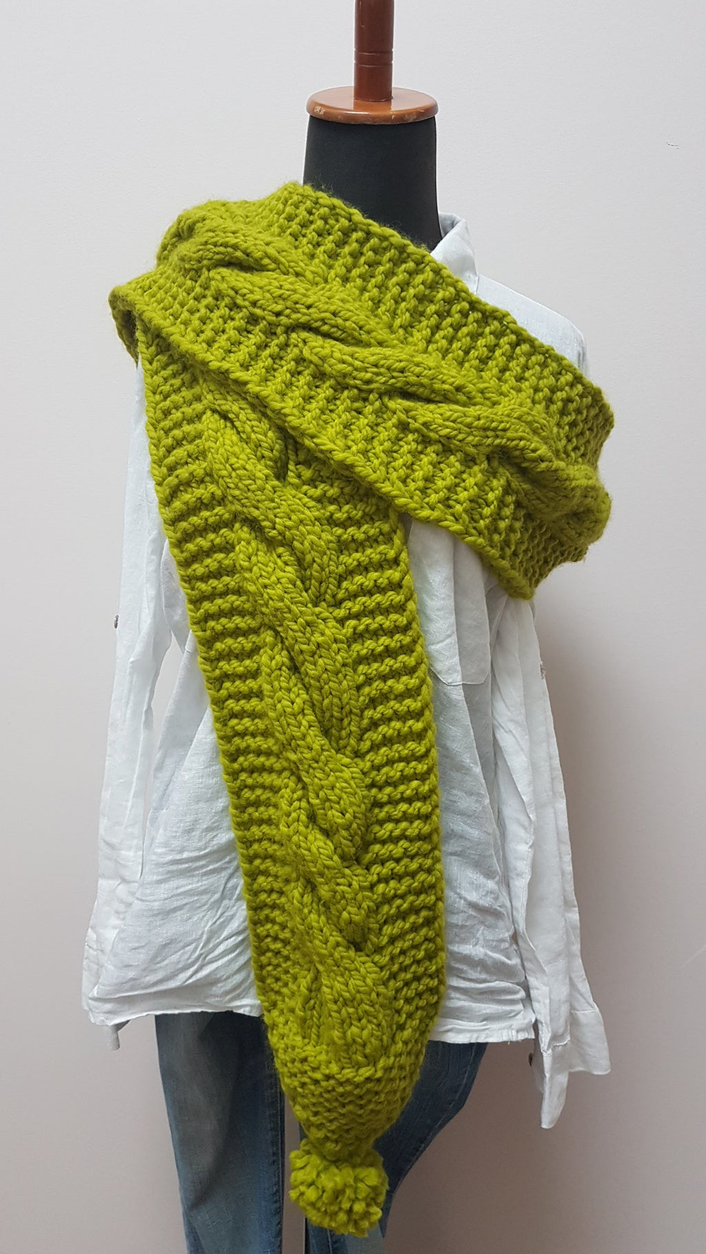 CHUNKY LONG SCARF LEMONGRASS
